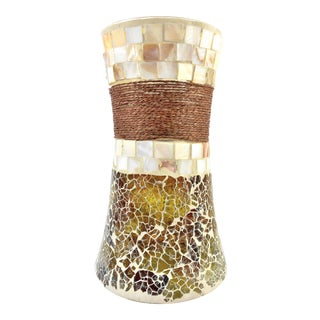 Stained Glass Mosaic Vase with Seashell Tiles and Rope - Large For Sale