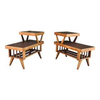 Mid-Century Oak Side End Tables- a Pair For Sale