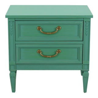 Mid Century Neoclassical Style Nightstand, Green Nightstand For Sale