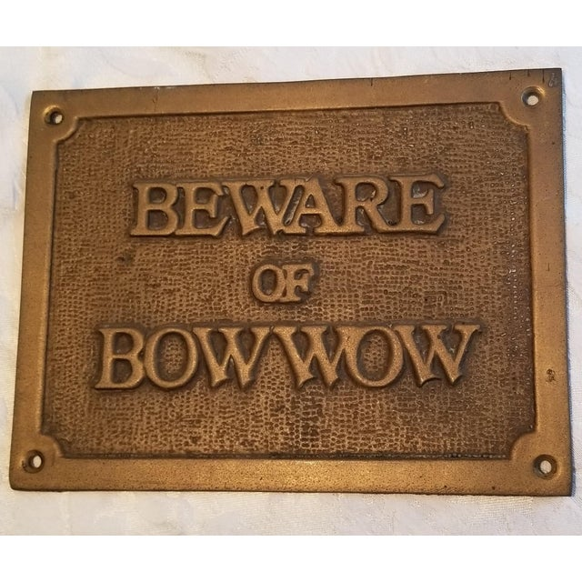 """Vintage """"Beware of Bow Wow"""" Brass Plaque/Sign For Sale - Image 4 of 5"""