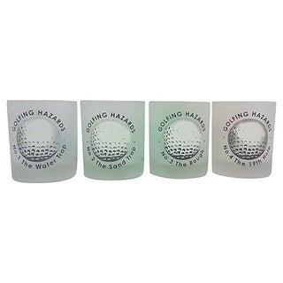 French Golfing Hazard Lowball Glasses- Set of 4