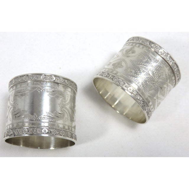 1870s Antique Sterling Silver Napkin Rings - a Pair For Sale - Image 13 of 13