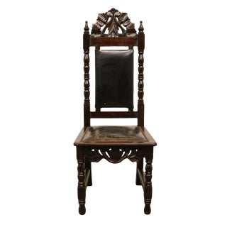 1960's Vintage Antique Jacobean Gothic Revival Ornate Dining Side Chair For Sale
