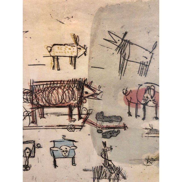 """1963 """"Artists Sketch Book"""" 7/25 Original Itaglio by Malcolm H. Myers, Framed For Sale In Minneapolis - Image 6 of 13"""