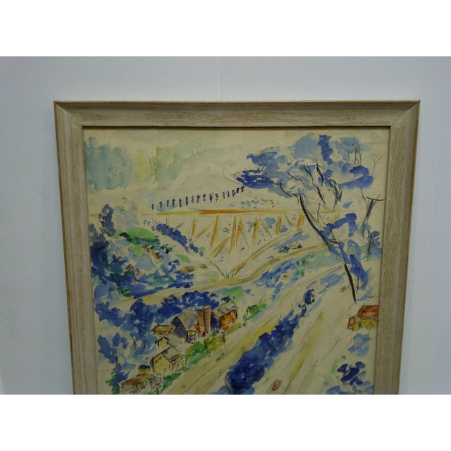 """1958 Americana Framed Original Painting, """"North Side of Pittsburgh"""" by S. Gottlieb For Sale - Image 4 of 11"""