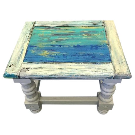 Rustic Coastal Solid Wood Side Table For Sale
