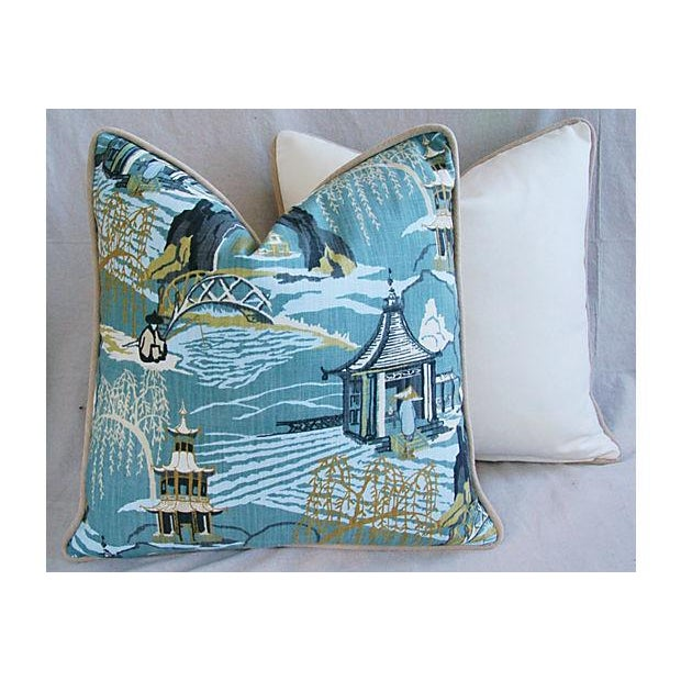 Designer Chinoiserie Asian Toile Pillows - Pair - Image 5 of 7