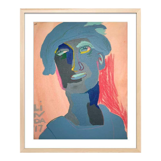 This abstract portrait is by contemporary artist Linda Ward of Detroit. This portrait is #73 out of a series of 500...