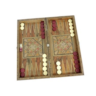 Vintage Inlaid Multi Wood Marquetry Backgammon and Checkers Game Set For Sale