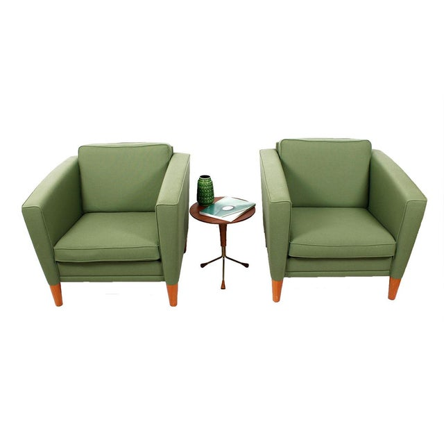 Green Danish Modern Lounge Chairs - A Pair - Image 3 of 5