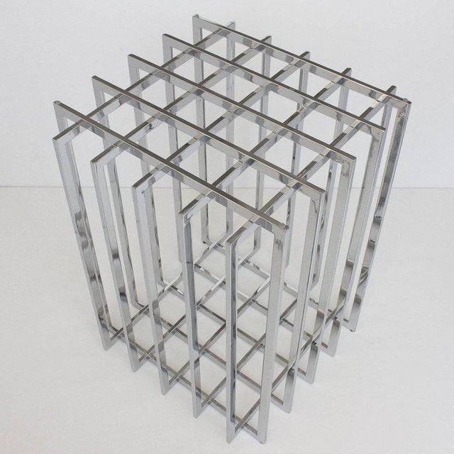 1970s Pierre Cardin Chrome Cage Form Pedestal Dining Table For Sale - Image 5 of 11