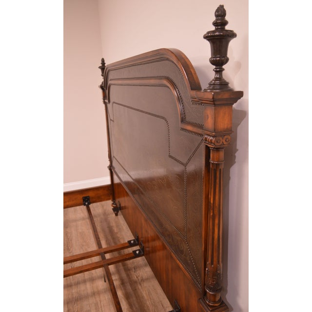 Theodore Alexander Armoury Collection Engraved Brass Paneled King Bed For Sale - Image 9 of 12