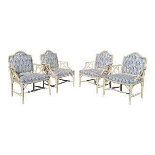 Chinese Chippendale Faux Bamboo Chairs - Set of Two