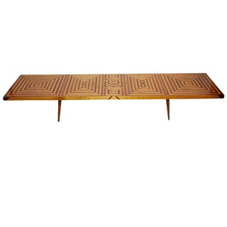 Mid-Century Inlaid Walnut and Maple Coffee Table