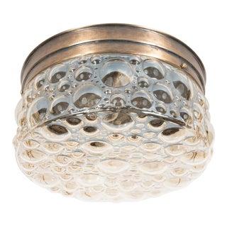 Mid-Century Modernist Textured Bubble Glass Flush Mount Chandelier For Sale