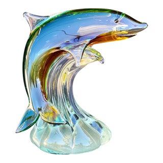 Vintage Italian Murano Blown Art Glass Shark Sculpture Paper Weight For Sale
