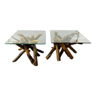 Rustic Organic Design Maple Log Wood Side or End Table With Glass Top, a Pair For Sale