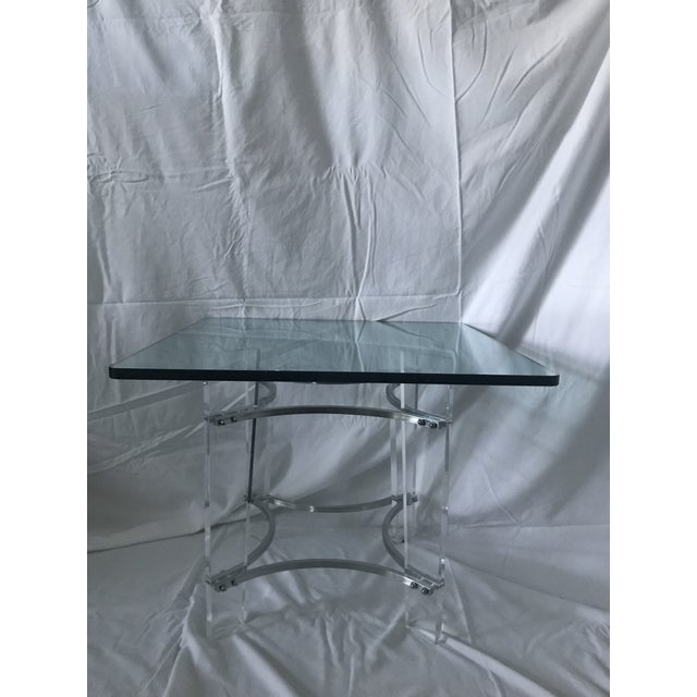 Charles Hollis Jones Lucite, Glass, & Chrome Side Table For Sale In Denver - Image 6 of 6