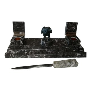 Black Marble Desk Set For Sale