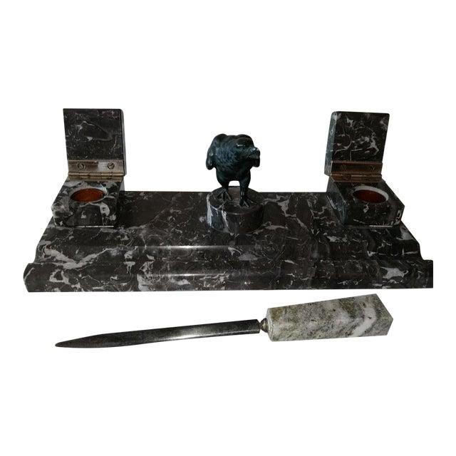 Black Marble Desk Set For Sale