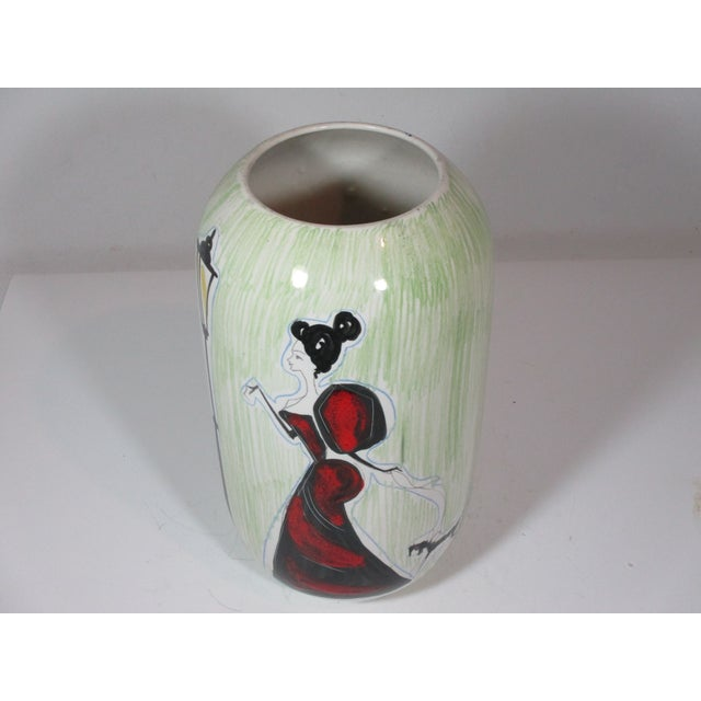 Vintage Italian Hand Painted Vase For Sale - Image 4 of 8