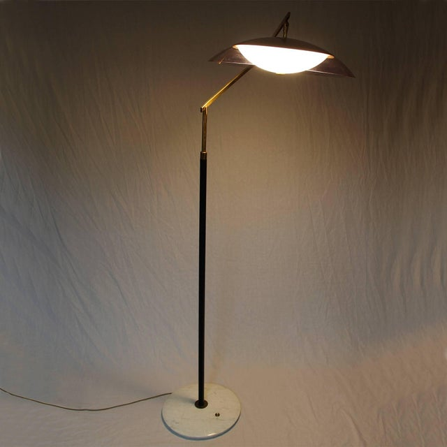 White 1960´s Standing Lamp by Stilux, marble, steel. brass, perspex lampshade - Italy For Sale - Image 8 of 9