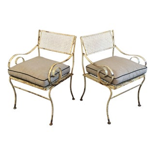 Woodard Scroll Arm Outdoor Chairs - a Pair