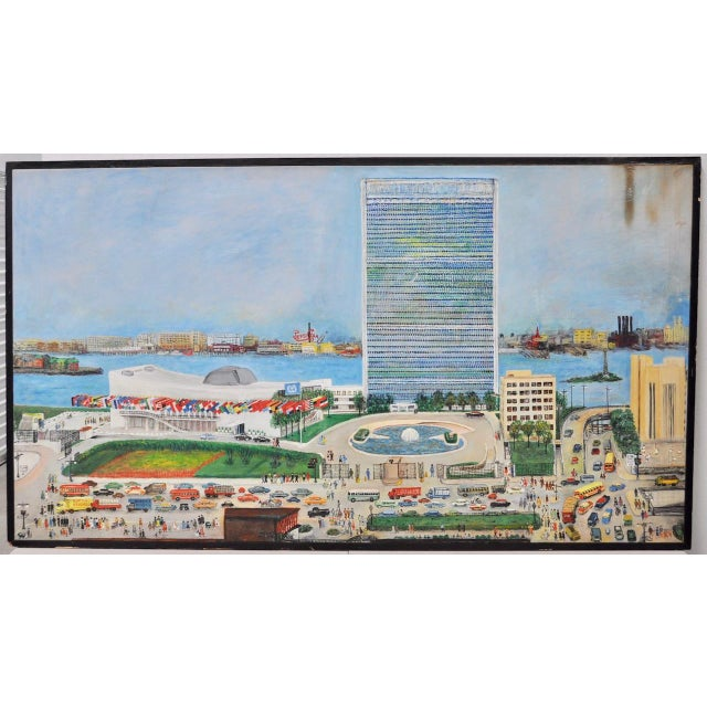 """Large Scale New York City """"United Nations"""" Folk Art Painting by Helen Mauldin C.1958 For Sale - Image 13 of 13"""
