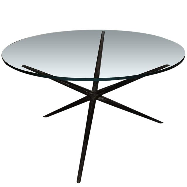 Customizable Blackened Hammered Steel Dinning Table Base For Sale