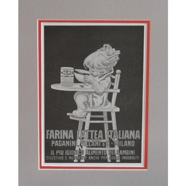 "1920s Matted Italian Ad ""Farina Lattea"" - Image 2 of 3"