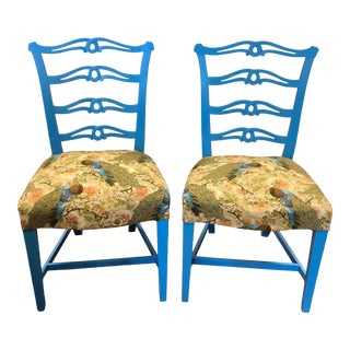 Antique Accent Chairs in Gloss Brilliant Blue - a Pair For Sale