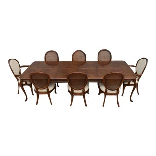 1970s French Country White Furniture Co Walnut Dining Set - 9 Pieces For Sale