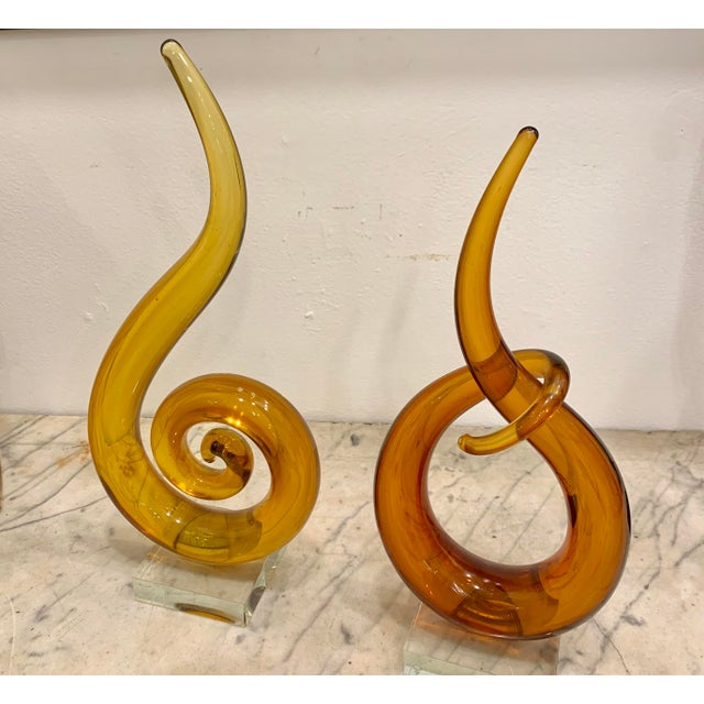 Modern Venetian Murano Glass Sculptures - a Pair For Sale - Image 3 of 6