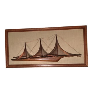 Vintage Mid-Century Copper & Wood Sailing Ship