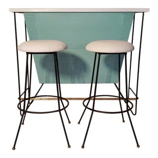 Mid-Century Modern Free-Standing Bar and Stools by Frederick Weinberg - 3 Pieces For Sale