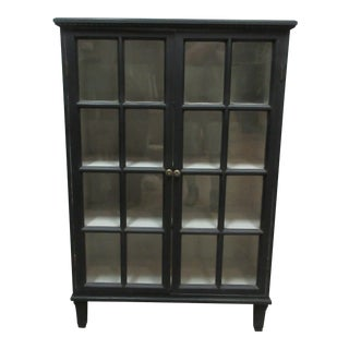 Swedish Gustavian Black Glass Door Sideboard For Sale