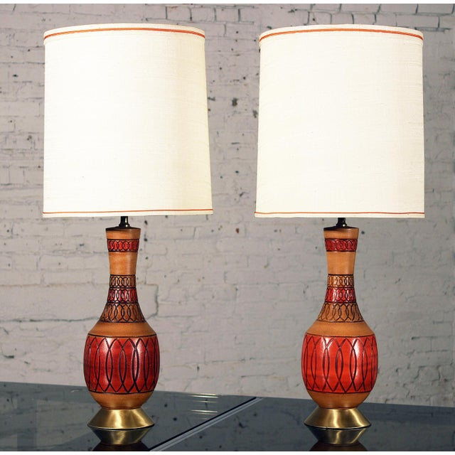 Vintage Royal Haeger Style Red Ceramic Table Lamps - Pair - Image 2 of 7