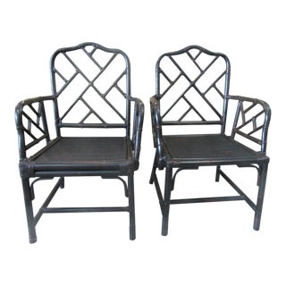 Rattan Chippendale Arm Chairs - a Pair