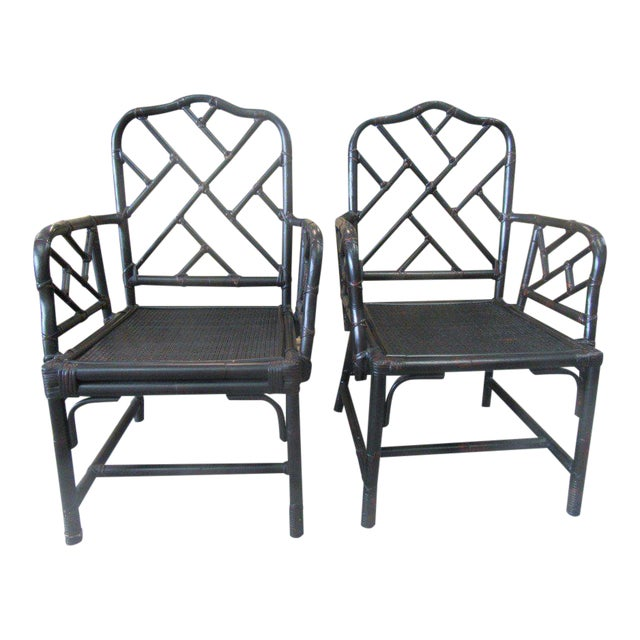 Rattan Chippendale Arm Chairs - a Pair - Image 1 of 6