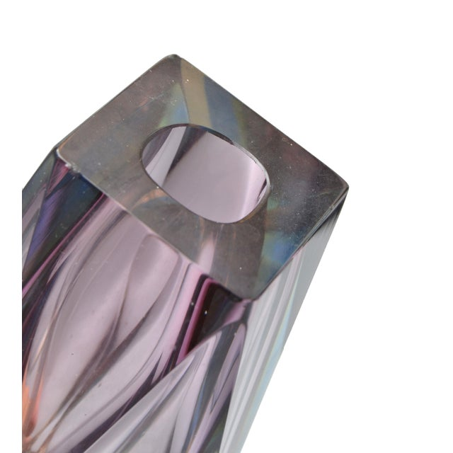 1980s Faceted Vase in Violet Attributed to Mandruzzato For Sale - Image 5 of 9