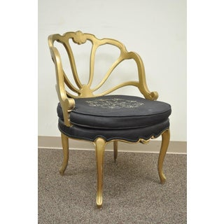 Vintage French Hollywood Regency Slipper Accent Chair Gold Shell Carved Boudoir Preview