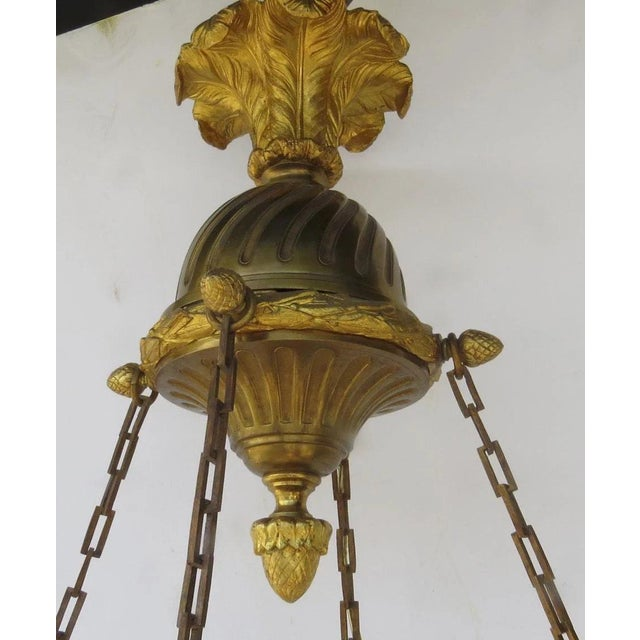 French French Oval Four Light Gilt Bronze Ormolu Chandelier For Sale - Image 3 of 9