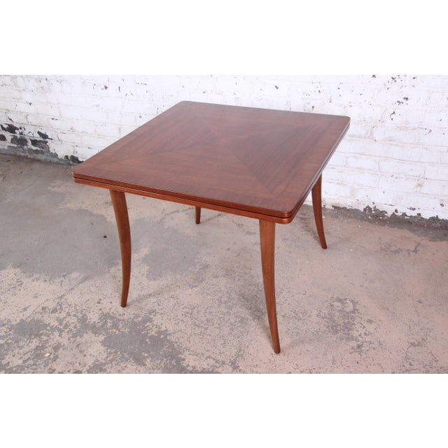Harvey Probber Mid-Century Modern Mahogany Saber Leg Flip Top Extension Dining or Game Table For Sale - Image 11 of 11