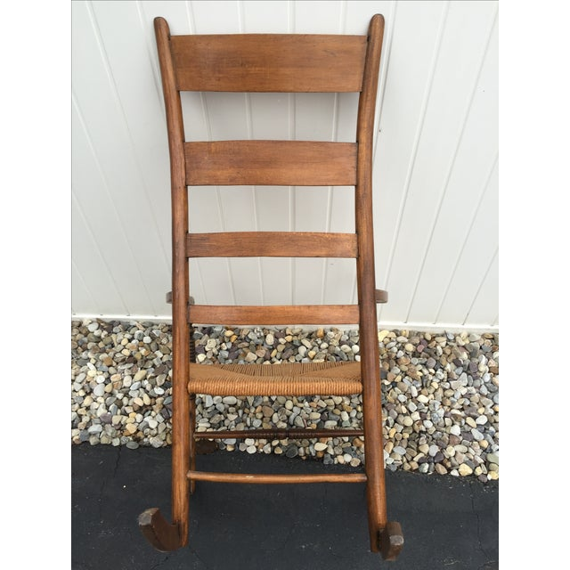 Antique Maple Rush Rocking Chair - Image 6 of 9