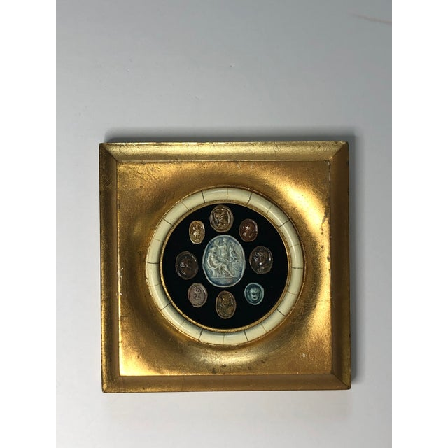 18th Century Grand Tour Glazed Cameos in Gilded Frame For Sale - Image 4 of 8