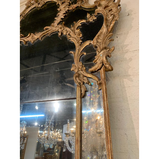 18th Century Italian Carved Wood Mirror With 2 Panel Mercury Glass Chairish