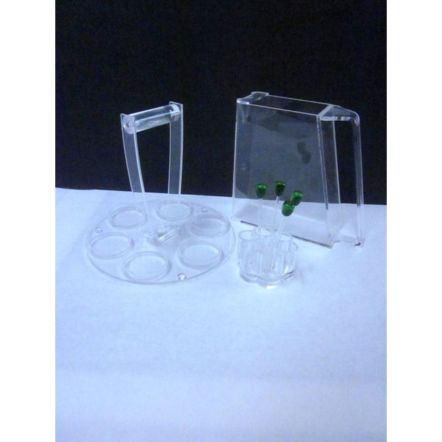 Lucite Modernist Cocktail Bar Tray Set - Image 2 of 11