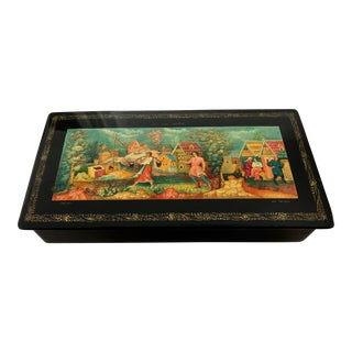 Vintage Russian Black Laquer Fedoskino Style Illustrated Jewelry Lidded Keepsake Box For Sale