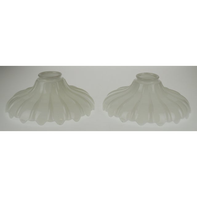 Mid 20th Century Vintage Opalescent White Glass Pendant Light Shades - a Pair For Sale - Image 5 of 13