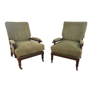 Espresso Wood Bobbin Spindle Accent Chairs - a Pair For Sale